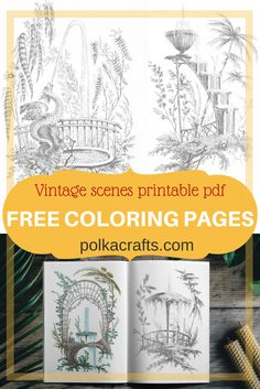 Check out these free coloring pages with vintage scenes ready to download as 300 dpi printable pdf