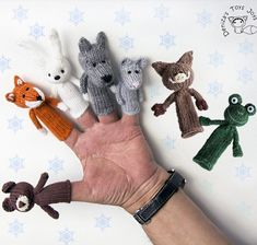 Knitting Pattern for Woodland Animals Finger Puppets - Patterns for 7 finger puppets are included: Fox, mouse, bear, boar, wolf, hare, frog puppets.The puppets are knitted in the round and are recommended for Advanced Beginner Knitters. Designed by Deniza Toys