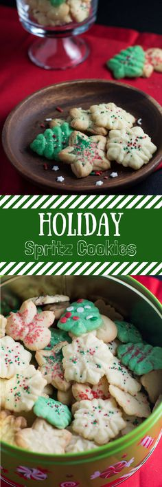 These light and buttery spritz cookies are the the perfect cookies to bring to your next family gathering! #holiday #christmas #cookies #sweets #dessert #spritzcookies #baking #bakedgoods #easyrecipe