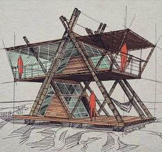Architectural sketches 298645019042537617 - Source by A Frame Cabin, A Frame House, Timber Architecture, Architecture Design, Amazing Architecture, Bamboo House Design, Triangle House, Tiny House Cabin, Cool Sketches