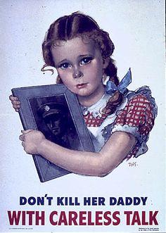 "WW2 hard-sell poster warning against ""careless talk"""