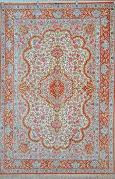 QUM Silk Carpet Silk Persian Rug.