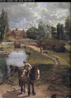 Painting by John Constable Great Paintings, Landscape Paintings, William Turner, English Romantic, Art Through The Ages, Hudson River School, Horse Art, Beautiful Paintings, Ciel