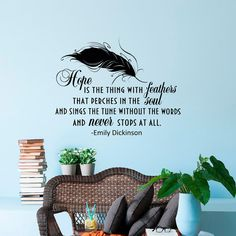 Wall Decal Hope Is The Thing With Feathers Emily by FabWallDecals