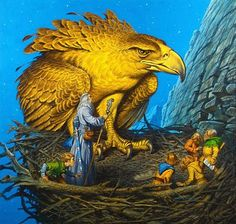 Darrell K. Sweet's eagle's nest. Donato Giancola (who now owns this painting) often credits Darrell with helping to ignite a life-long love of Tolkien's work in him. - The Hobbit as depicted in art over the decades Jrr Tolkien, Tolkien Books, Gandalf, Art Hobbit, Hobbit Book, Lotr, The Eagles, John Howe, Fantasy Illustration