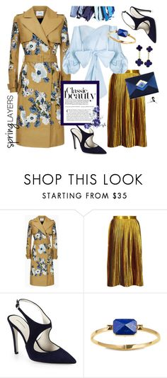 """Navy & Gold for Spring"" by quicherz ❤ liked on Polyvore featuring Erdem, Boohoo, Chanel, Giorgio Armani, Ringly and Van Cleef & Arpels"