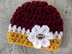 NFL hat  Washington Redskins  chunky baby girl hat  by LadybugLB, $12.00