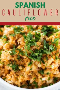 This Easy Spanish Cauliflower Rice is a quick side dish that perfect for a healthy diet. It is just the right match for tacos, enchiladas, or grilled chicken. No surprise, this recipe has become a year-round staple in my side dish repertoire. It is low carb, keto, dairy free, and gluten-free. #wendypolisi #spanishrice #cauliflwoerrice #easyrecipes #lowcarb #lowcarbside Spanish Cauliflower Rice, Chicken And Spanish Rice, Spanish Rice Recipe, Gluten Free Recipes For Dinner, Healthy Gluten Free Recipes, Healthy Dinner Recipes, Keto Recipes, Healthy Food, Paleo