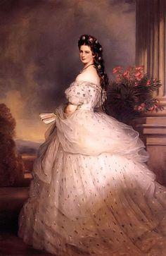 """Franz Xaver Winterhalter """"Impératrice Elisabeth d'Autriche"""" (dite Sissi) 1865 Palais de la Hofbourg, Vienne Mode Second Empire Français Crinoline projettée"""