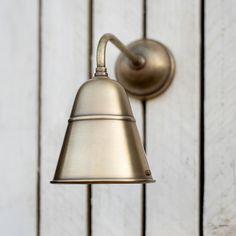 Dalston Outdoor Wall Light in Antiqued Brass Outdoor Porch Lights, Outdoor Garden Lighting, Outdoor Wall Lighting, Exterior Lighting, Outdoor Walls, Garden Wall Lights, How To Clean Brass, Modern Properties