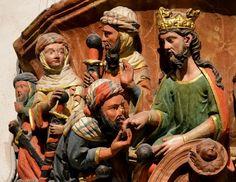 Escena del vasallaje de Alhamar al rey Fernando III el Santo. Caballeros nazaritas. Capilla de Santa Catalina (Catedral de Burgos)