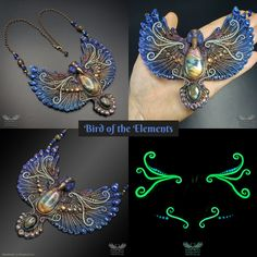 Hand-sculpted, magickal, unique, glow-in-the-dark statement necklace made of polymer clay, labradorite gemstones and Swarovski crystals by Melinda Puho (wizArts. Shape And Form, Clay Tutorials, Galaxy Wallpaper, Magick, Unique Art, Wearable Art, Labradorite, Jewelry Art, Sculpting