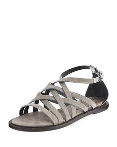 BRUNELLO CUCINELLI MONILI MULTI-STRAP FLAT SANDAL, SILVER. #brunellocucinelli #shoes #flats