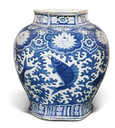 A large blue and white 'fish' jar, Ming dynasty, Wanli period