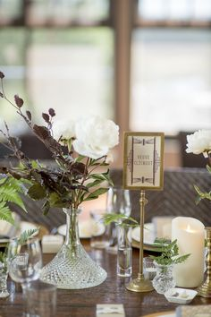 LETTUCE & CO - STYLE. EAT. PLAY 'tessa + phill - art deco inspired wedding'. tablescape. antique brass card holder. champagne name table numbers. antique cut crystal debater used as vase. concept, design and styling by lettuce & co