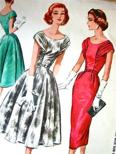 ONBESNEDEN * 1950 McCalls patroon 4172 - GLAMOUREUZE avondjurk met Ruched Bodice, Full of slank rok - grootte 12 of grootte 18