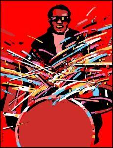 Waldemar Swierzy - Sizzling Sticks / Drums (Fine Art Print / Polish Poster Art)
