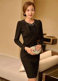 Elegant Dress from Styleonme.  Korean Fashion, Women Fashion, Feminine Look, Classy Look, Office Look, Lovely, Romantic, High Quality, Gorgeous Look, F/W 2014,Style On Me, Louis Angel, Winter Styling  www.styleonme.com www.facebook.com/StyleonmeEn