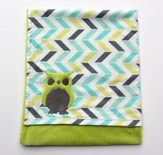 Owl Baby Blanket Chevron Minky Blanket by mylittlemookie on Etsy, $46.00