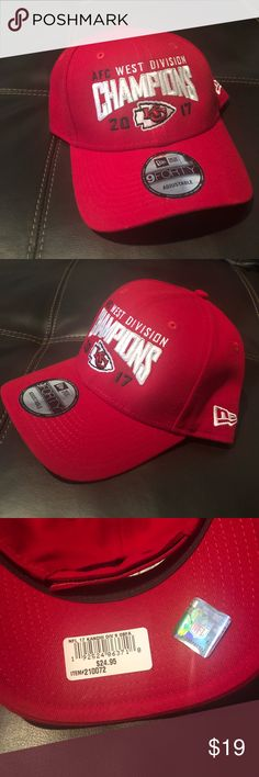 Kansas City Chiefs Hat AFC West Division Champions 2017 Never worn or used, Just got! Kansas City Chiefs Logo, Division, Nfl, Champion, Toms, Man Shop, Womens Fashion, Sneakers, Sports