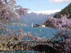 Lago di Como  il primo bacino  e la fontana di Villa Geno