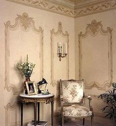 MARBELLA : - Traditional wallpaper / patterned / baroque / handmade by Paul Montgomery Studio Chinoiserie Wallpaper, Wall Wallpaper, Pattern Wallpaper, French Decor, French Country Decorating, Wall Finishes, Decorative Panels, Traditional Wallpaper, Grisaille