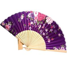 Binmer(TM) Japanese Cherry Blossom Folding Hand Dancing Wedding Party Decor Fan Chinese Fans (Purple): Package included: 1 x Folding Hand Held Fan Hand Dancing, Chinese Dance, Hand Held Fan, Hand Fans, Japanese Blossom, Fan Decoration, Plum Flowers, Chinese Painting, Painting Patterns