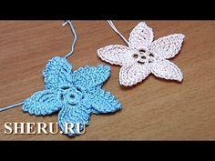 Crochet Flat Flower Ttutorial 18 Part 1 of 2 Вязание Цветов - YouTube