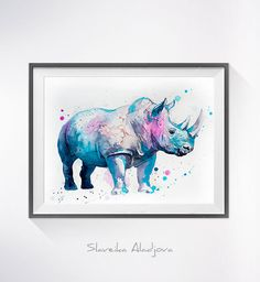 Rhino 2 watercolor painting print, Rhinoceros art, safari art, safari animal, illustration, animal watercolor, animal poster, Rhino art