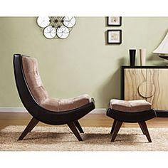 This Two Tone C Shaped Chair Features A Tufted Back And Coordinating Ottoman