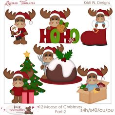 12 Moose of Christmas Set 2 Layered .psd Templates