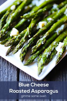 Blue Cheese Roasted Asparagus -- a super quick and easy appetizer/side that's in season! | gimmesomeoven.com