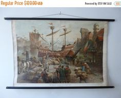 ON SALE 30% OFF Boat Ship School Chart - Antique Sailing Medieval Boat Pull Down…