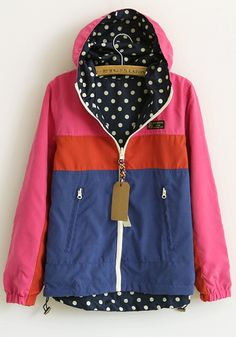 Rose-Carmine Patchwork Long Sleeve Two-way Cotton Padded Coat
