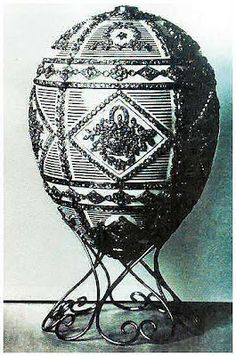 """The next Imperial Easter Egg in line - the """"Alexander III Commemorative Egg"""", from 1909, has been missing since the Russian Revolution. A picture from a pre-revolution photo catalog exists of it"""