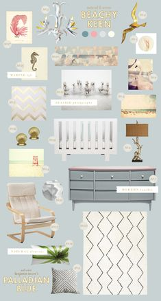 I love these washed out pastel ideas for NOW, not just baby days! ...beachy-keen baby nursery style board inspiration