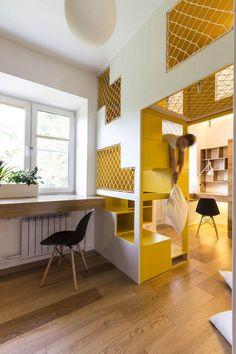 funktionelle Möbel und Fächer bieten Spiel-und Stauraum
