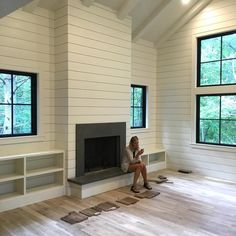 Shiplap On Fireplace Rustic Mantle Also Love The Coffee