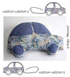 Tuto doudou voiture.Fait Small Sewing Projects, Sewing For Kids, Diy For Kids, Softies, Fundraising Crafts, Diy Bebe, Baby Box, Patchwork Pillow, Fabric Toys