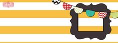 yellow Stripes, banner, flags, bunting, modern, ornate frame