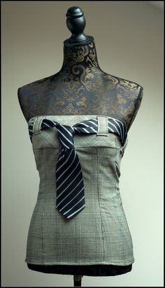 Tie corset / top made from upcycled trousers & a tie