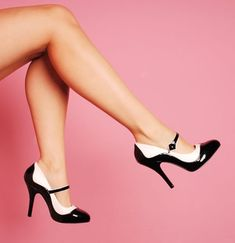 Bordello Shoes Tempt Two-Tone Maryjane in Black and White with 4 1/2 inch heel...and only $58!