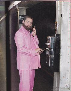 Zach Galifianakis in his subway pink best.