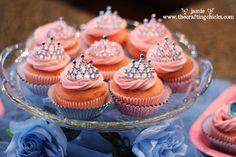 "{Cinderella Party-""A Party Fit for a Princess""} tiara cupcake toppers (actually Party City tiara combs) Princess Party Cupcakes, Cinderella Cupcakes, Princess Theme Party, Cinderella Birthday, Baby Shower Princess, Cinderella Princess, Princess Birthday, Cinderella Theme, Princess Tiara"