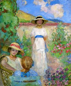 Les Andelys Three Girls in a Garden | Henri Lebasque | oil painting