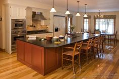 Kitchen Island Cabinets With Seating | Pictures of Kitchens - Traditional - Red Kitchen Cabinets