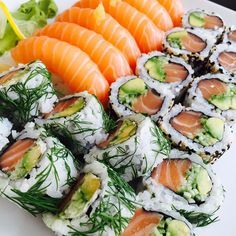 """Gorgeous-looking salmon sushi. As a motif, the striped salmon flesh is an excellent example of a """"calm"""" warm element."""