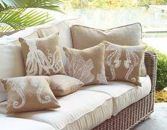 Burlap Sealife Coastal Pillows $18 each