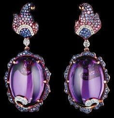 Delphinium Earrings Set in Yellow Gold with Oval Cabochon Amethysts, Diamonds, Pink Sapphires, Light Blue Sapphires and Blue Sapphires Purple Jewelry, Amethyst Jewelry, Amethyst Earrings, Gemstone Jewelry, Jewellery Earrings, Jewelry Rings, High Jewelry, Jewelry Accessories, Jewelry Design