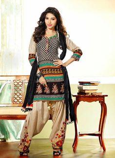 Attractive Brown & Black Cotton Based Salwar #Suit With Resham Work #salwarkameez #ethnicwear #womenapparel #womendresses